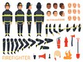 Fireman characters. Firefighter body parts and special uniform with professional tools combat fire extinguisher shovel