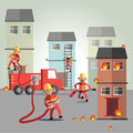 Fireman eps format burning cartoon character drawing emergency fighter fire firefighter firemen hot house houses illustration male Royalty Free Stock Photography