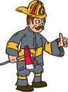 Fireman Firefighter Axe Thumbs Up Cartoon Royalty Free Stock Photo