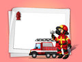 A fireman holding an ax beside his fire truck with a white blank illustration of paper Stock Photography