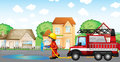 A fireman holding a hose with a fire truck at the back illustration of Royalty Free Stock Photos