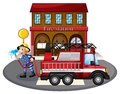 A fireman holding a water hose beside a fire truck illustration of on white background Royalty Free Stock Photos