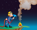 A fireman holding a water hose illustration of Royalty Free Stock Images