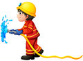 A fireman holding a water hose illustration of on white background Royalty Free Stock Image