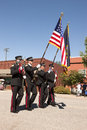 Fireman honor guard march with flags at the rathdrum days in rathdrum idaho on july Stock Image