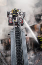 Fireman on ladder Royalty Free Stock Photo