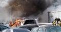 Firemen extinguishing fire a car in edmonton alberta july Royalty Free Stock Photography