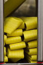 Firemen truck yellow water hoses detail from a modern Stock Image