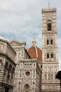 Firenze famous tower of campanile di giotto wtith duomo di fir view near cathedral and Royalty Free Stock Photos