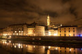 Firenze galileo museum palazzo vecchio tower reflected in arn general view of florence of arno Stock Images