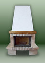 Fireplace ​​of brick made and stone with white chimney on a green background Stock Photos