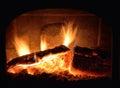 Fireplace, blazing fire Royalty Free Stock Photo