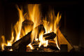 Fireplace burning wood in the at home Royalty Free Stock Image