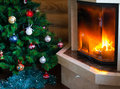 Fireplace and christmas tree beautiful Royalty Free Stock Photo