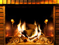 Fireplace close up image of and wood burning Stock Image