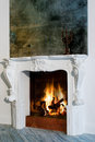 Fireplace cozy with burning wood Stock Photo