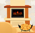 Fireplace and firewood Royalty Free Stock Image