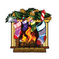Fireplace i present to you a christmas icon Royalty Free Stock Photo