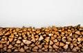 Fireplace logs background. Winter heap Royalty Free Stock Photo