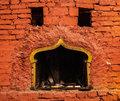 Fireplace old with brick wall sourounded Stock Photography