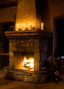 Fireplace room with chimney Royalty Free Stock Photo