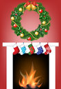Fireplace, socks and garland Royalty Free Stock Photos