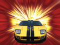 Firery yellow american sportscar Royalty Free Stock Photos