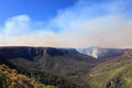 Fires in blue mountains australia one of several burning the west of sydney grose valley wold heritage area looking north up Royalty Free Stock Photo