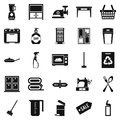 Fireside icons set, simple style Royalty Free Stock Photo