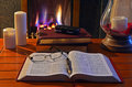 Fireside study student studying by open with organizer and pen Royalty Free Stock Photos
