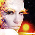 Firestarter abstract female portrait for your design Stock Image