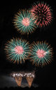 Fireweok scene german fireworks during octoberfest party Royalty Free Stock Photos