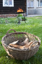 Firewood in the basket Royalty Free Stock Images