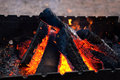 Firewood in brazier Royalty Free Stock Photo