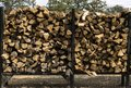 Firewood cut and stacked in racks for sale Royalty Free Stock Photo
