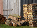Firewood in Front of a Shed Royalty Free Stock Photos