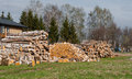 Firewood for heating stacked outdoor used home Stock Photo