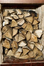 Firewood stored indoors for the fireplace Stock Image