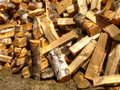 Firewoods pile of chopped birch firewood natural background Royalty Free Stock Images