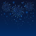 Firework in blue sky shiny on the dark illustration Stock Images