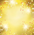 Firework celebration golden background Stock Photography