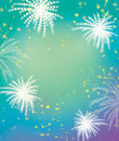 Firework and celebration green tone  background Royalty Free Stock Photo
