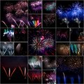Firework collage festive celebrate of independent or new year day Royalty Free Stock Photos