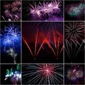Firework collage festive celebrate of independent or new year day Stock Image