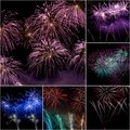 Firework collage festive celebrate of independent or new year day Stock Photography