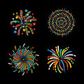 Firework different shapes colorful festive vector.