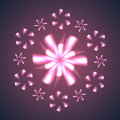 Firework flowers and snowflakes vector illustration Stock Image