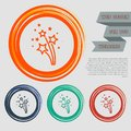 Firework icon on the red, blue, green, orange buttons for your website and design with space text. Royalty Free Stock Photo