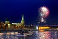 Firework in moscow russia over kremlin and moskva river Stock Photo