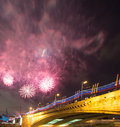 Firework over moscow russia near the kremlin Stock Photos